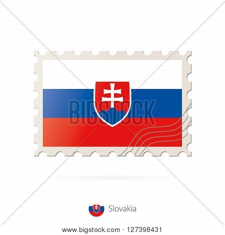 Postage Stamp With The Image Of Slovakia Flag.
