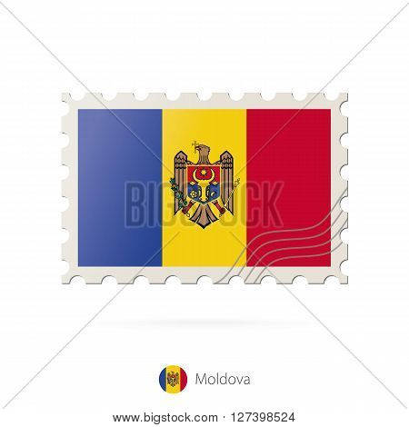 Postage Stamp With The Image Of Moldova Flag.