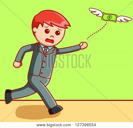 Business man chasing money .EPS10 editable vector illustration design
