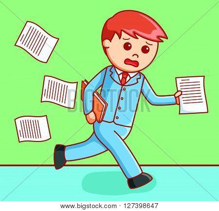 Business man too late  illustration .EPS10 editable vector illustration design