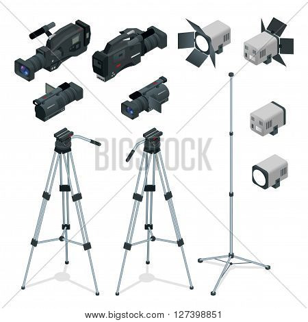 Professional digital video camera set on a tripod. Film lens, television camera. Spotlights realistic transparent. Flat 3d isometric illustration