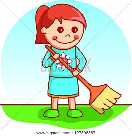 Girl sweeping doodle .EPS10 editable vector illustration design