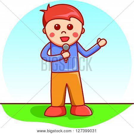 boy singing doodle cartoon .EPS10 editable vector illustration design