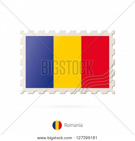 Postage Stamp With The Image Of Romania Flag.