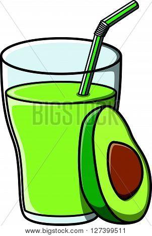 Avocado juice doodle illustration design .EPS10 editable vector illustration design