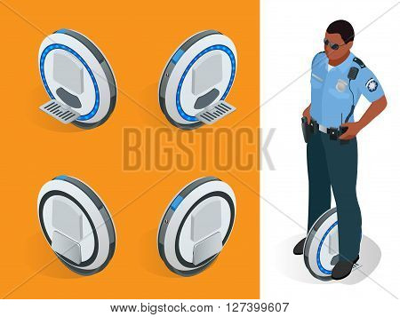 Police officer on One-wheeled Self-balancing electric scooter vector isometric illustrations. Intelligent and fashionable personal transportation tool with interactive function.