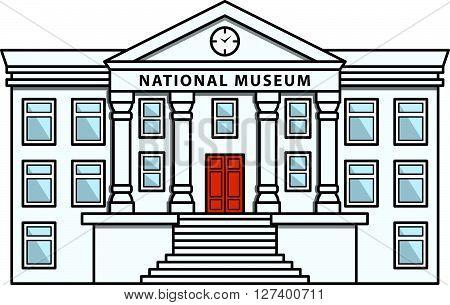 Museum Building Doodle Illustration cartoon .Eps 10 editable vector Illustration design
