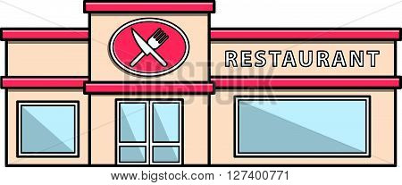Restaurant building Doodle Illustration cartoon .Eps 10 editable vector Illustration design