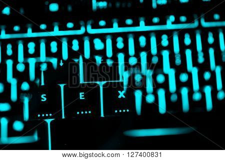 Sex Text On The Illuminated Buttons Of The Keyboard By Night