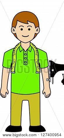 Tailor doodle cartoon .Eps 10 editable vector Illustration design