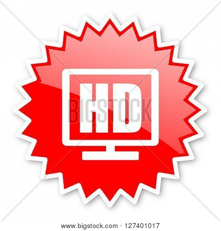 hd display red tag, sticker, label, star, stamp, banner, advertising, badge, emblem, web icon