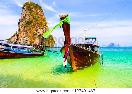 Longtail boat near Ao Nang island a center for long-tail boat tours to the beaches of limestone islands such as Ko Hong Ko Poda and Ko Gai (Chicken Island). Krabi province Thailand