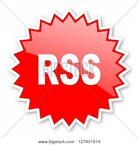 rss red tag, sticker, label, star, stamp, banner, advertising, badge, emblem, web icon