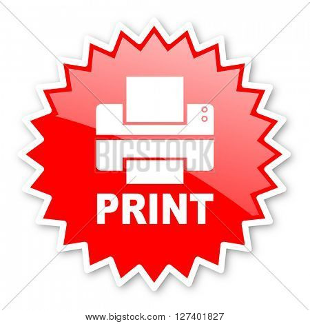 printer red tag, sticker, label, star, stamp, banner, advertising, badge, emblem, web icon