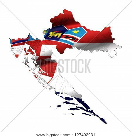 Silhouette Of Croatia Map With Flag