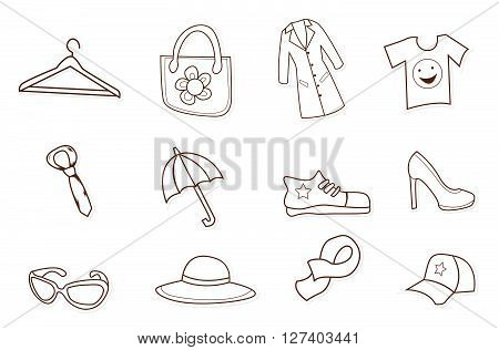 Fashion Shopping Hand Drawn Sketch Doodle .eps10 editable vector illustration design