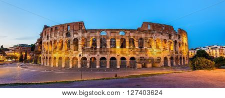 Evening view of the Colosseum in Rome, Italy