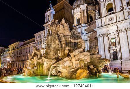 Fontana dei Quattro Fiumi in Rome, Italy