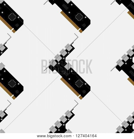 PCI to USB controller pattern. Seamless pattern on a white background.