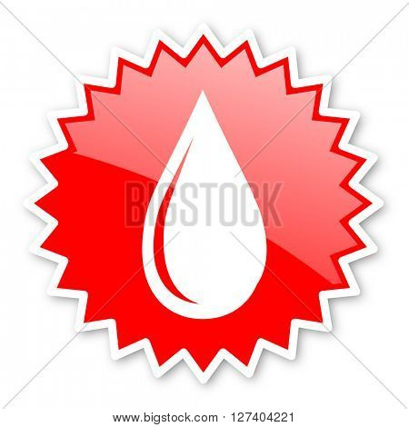 water drop red tag, sticker, label, star, stamp, banner, advertising, badge, emblem, web icon