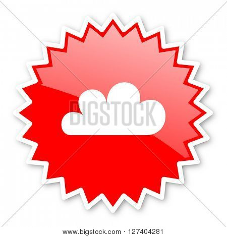 cloud red tag, sticker, label, star, stamp, banner, advertising, badge, emblem, web icon