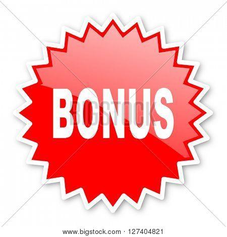 bonus red tag, sticker, label, star, stamp, banner, advertising, badge, emblem, web icon