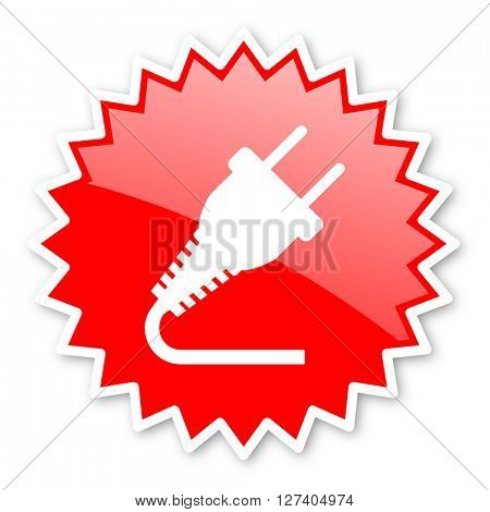 plug red tag, sticker, label, star, stamp, banner, advertising, badge, emblem, web icon