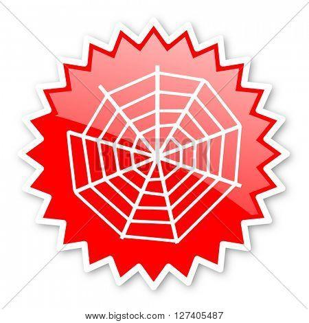 spider modern web red tag, sticker, label, star, stamp, banner, advertising, badge, emblem, web icon