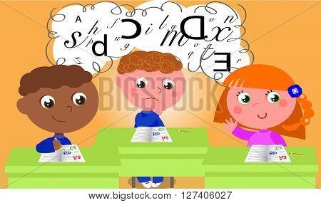 Dyslexic boy in school class. Vector illustration.