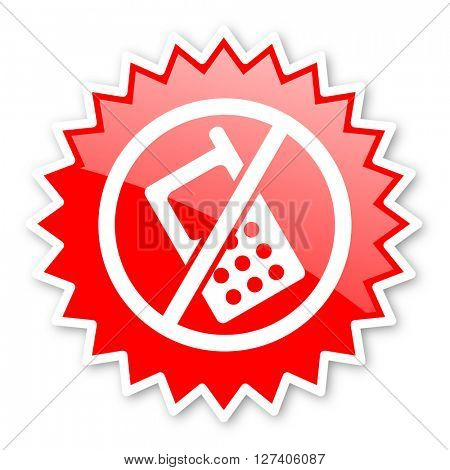 no phone red tag, sticker, label, star, stamp, banner, advertising, badge, emblem, web icon
