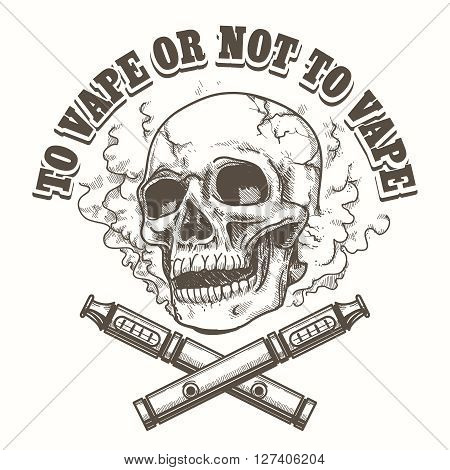 E-cigarette logo template with skull. Vape label or vape shop emblem. Vector illustration