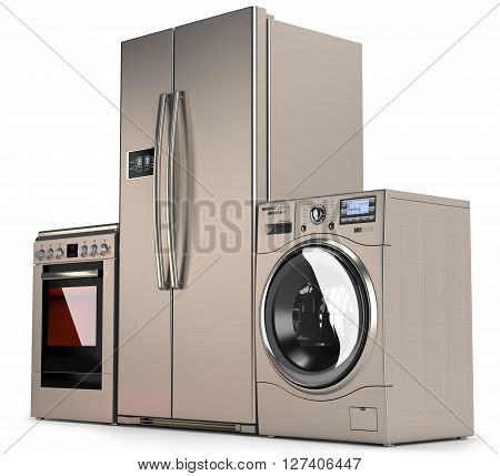 Home appliances refrigerator washing machine and a gas stove isolated on white background 3d