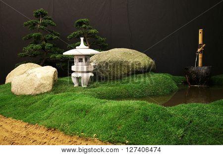 Japanese ORIENTAL TROPICAL garden decorations still life