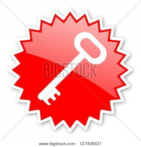 key red tag, sticker, label, star, stamp, banner, advertising, badge, emblem, web icon