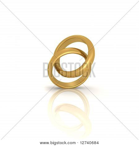 A pair of gold wedding rings - a 3d image