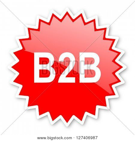 b2b red tag, sticker, label, star, stamp, banner, advertising, badge, emblem, web icon