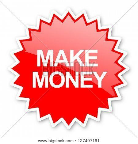 make money red tag, sticker, label, star, stamp, banner, advertising, badge, emblem, web icon