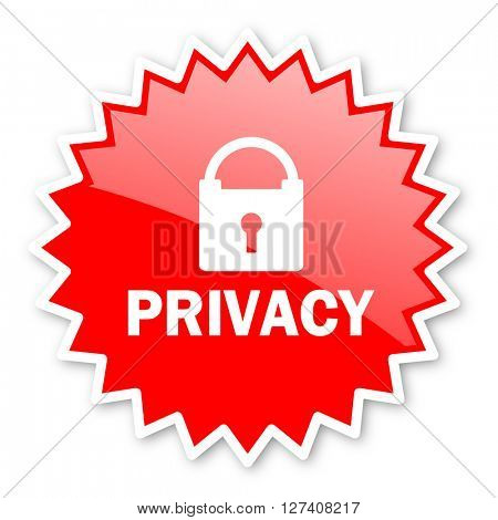 privacy red tag, sticker, label, star, stamp, banner, advertising, badge, emblem, web icon