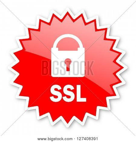 ssl red tag, sticker, label, star, stamp, banner, advertising, badge, emblem, web icon
