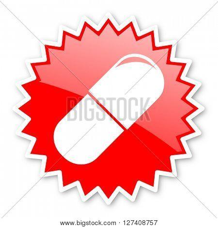 drugs red tag, sticker, label, star, stamp, banner, advertising, badge, emblem, web icon