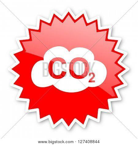 carbon dioxide red tag, sticker, label, star, stamp, banner, advertising, badge, emblem, web icon