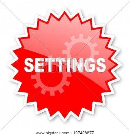 settings red tag, sticker, label, star, stamp, banner, advertising, badge, emblem, web icon