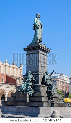 Monument of Adam Mickiewicz Polish national romatic poet and dramatist on Main Market Square in Krakow Poland.