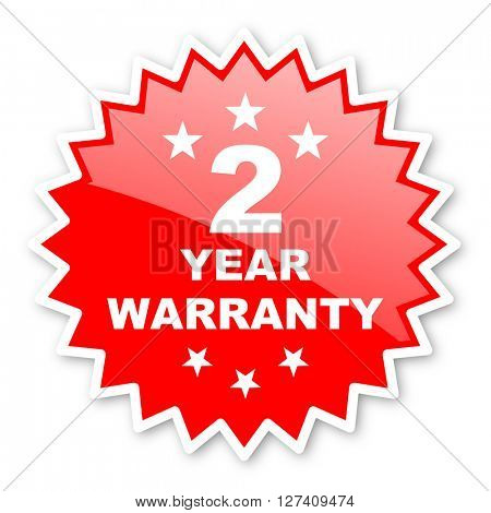 warranty guarantee 2 year red tag, sticker, label, star, stamp, banner, advertising, badge, emblem, web icon