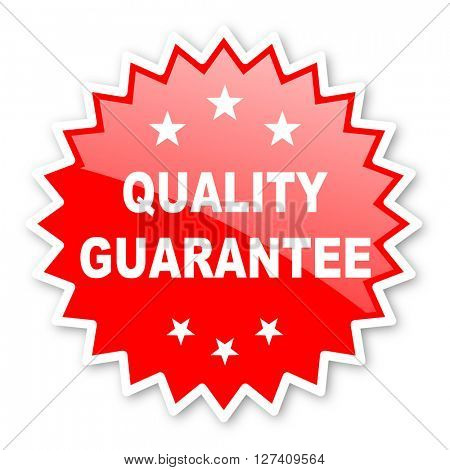 quality guarantee red tag, sticker, label, star, stamp, banner, advertising, badge, emblem, web icon