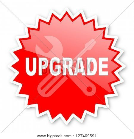 upgrade red tag, sticker, label, star, stamp, banner, advertising, badge, emblem, web icon