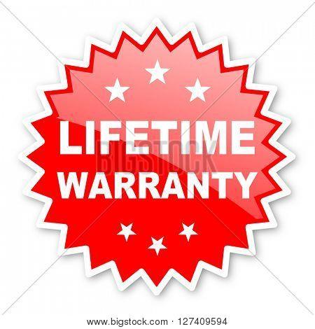 lifetime warranty red tag, sticker, label, star, stamp, banner, advertising, badge, emblem, web icon