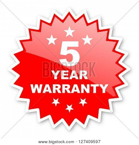 warranty guarantee 5 year red tag, sticker, label, star, stamp, banner, advertising, badge, emblem, web icon