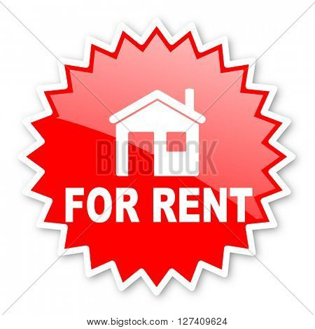 for rent red tag, sticker, label, star, stamp, banner, advertising, badge, emblem, web icon