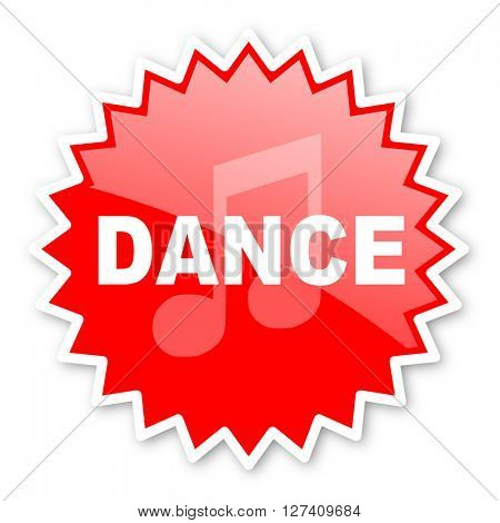 dance music red tag, sticker, label, star, stamp, banner, advertising, badge, emblem, web icon